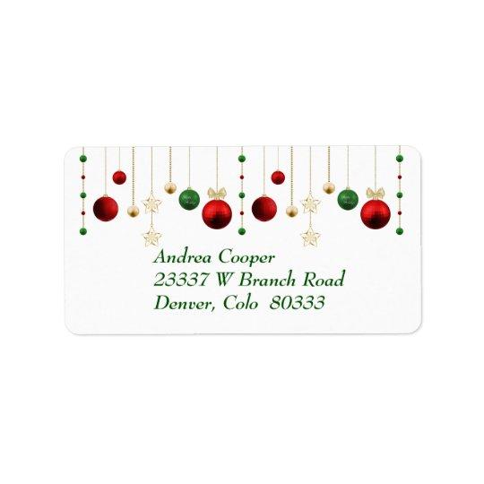 Guirlande de Noël sur le blanc Étiquettes D'adresse