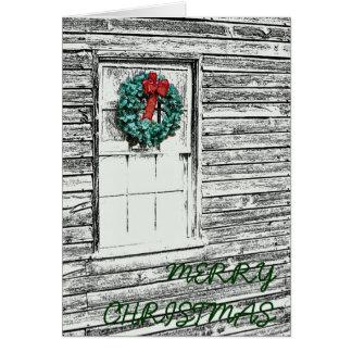 Guirlande de Noël sur le vieux croquis de bâtiment Carte De Vœux