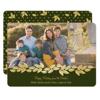 Guirlande de vacances d'or et photo d'olive de carton d'invitation  11,43 cm x 15,87 cm