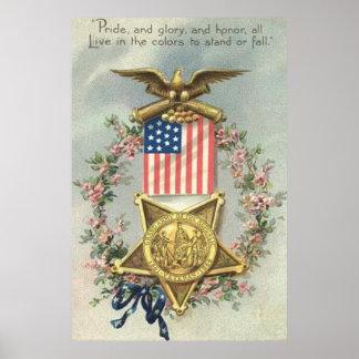 Guirlande d'Eagle de médaille de guerre civile des Posters