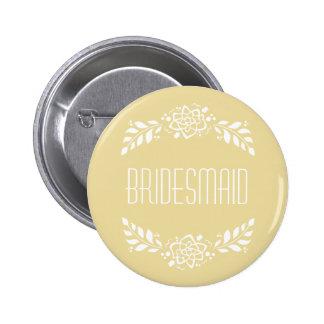 Guirlande d'or de demoiselle d'honneur badge rond 5 cm
