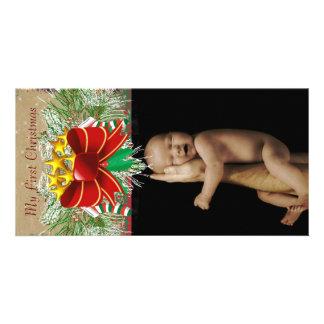 Guirlande et arcs mon ęr carte photo de bébé de photocarte personnalisée