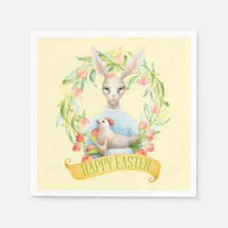 Guirlande et lapin Joyeuses Pâques de tulipe Serviette Jetable