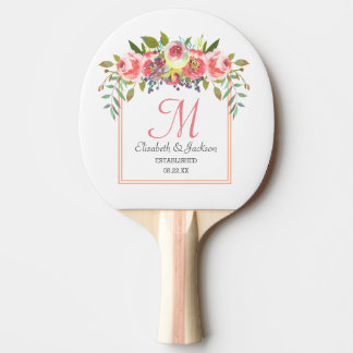 Guirlande florale d'aquarelle de pêche de raquette tennis de table