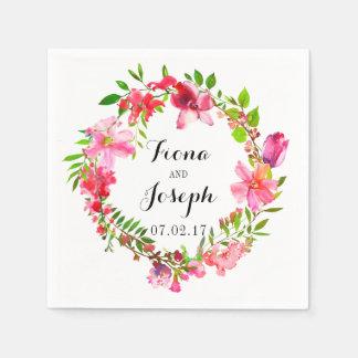 Guirlande florale d'aquarelle d'été de serviettes serviette en papier