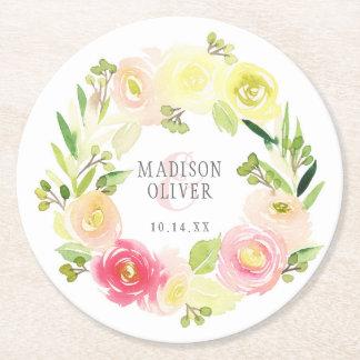 Guirlande florale   d'aquarelle rose et jaune dessous-de-verre rond en papier