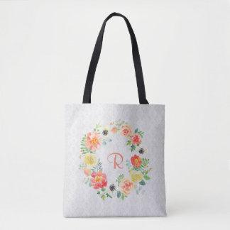 Guirlande florale d'aquarelle tote bag