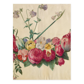 Guirlande florale d'art vintage carte postale