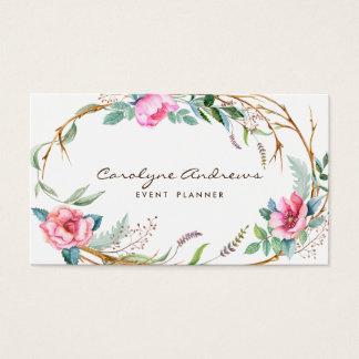 Guirlande florale de Bohème d'aquarelle rose Cartes De Visite