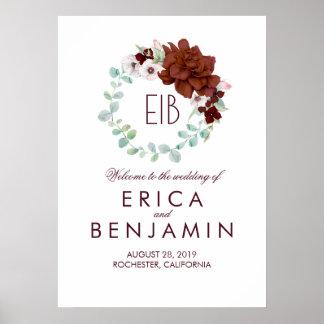 Guirlande florale de Bourgogne épousant le signe Poster