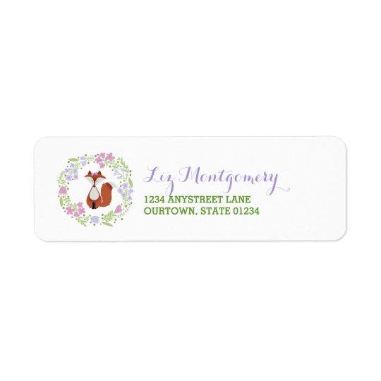 Guirlande florale de Fox de Cutie Étiquette D'adresse Retour