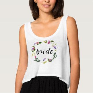 Guirlande florale de jeune mariée d'aquarelle débardeur