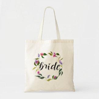 Guirlande florale de jeune mariée d'aquarelle sacs de toile