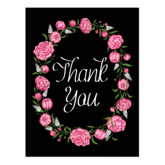 Guirlande florale de Merci de pivoine noire de Cartes Postales