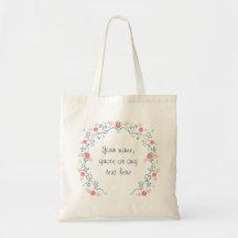 Guirlande florale de printemps dans la sarcelle sacs fourre-tout