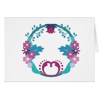 Guirlande florale folklorique carte de vœux