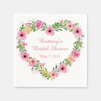 Guirlande florale rose en forme de coeur serviettes en papier