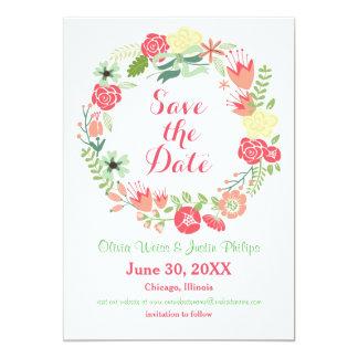 Guirlande florale rose - faites gagner la date carton d'invitation  12,7 cm x 17,78 cm