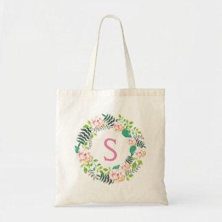 Guirlande florale rose romantique personnalisée tote bag