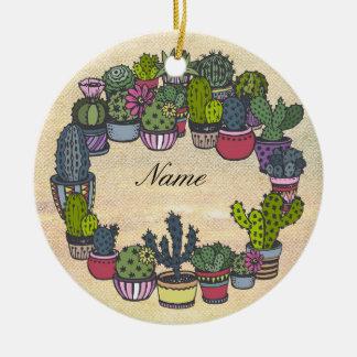 Guirlande personnalisée de cactus ornement rond en céramique