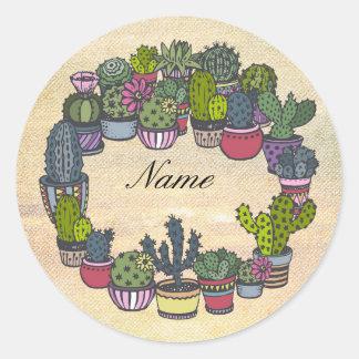 Guirlande personnalisée de cactus sticker rond