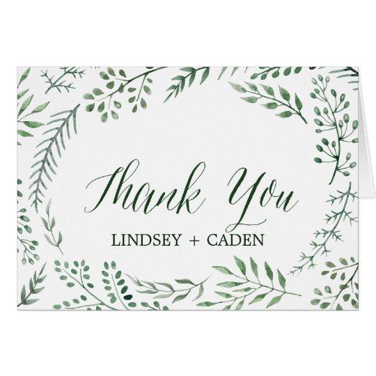 Guirlande rustique avec le feuille vert épousant cartes de vœux