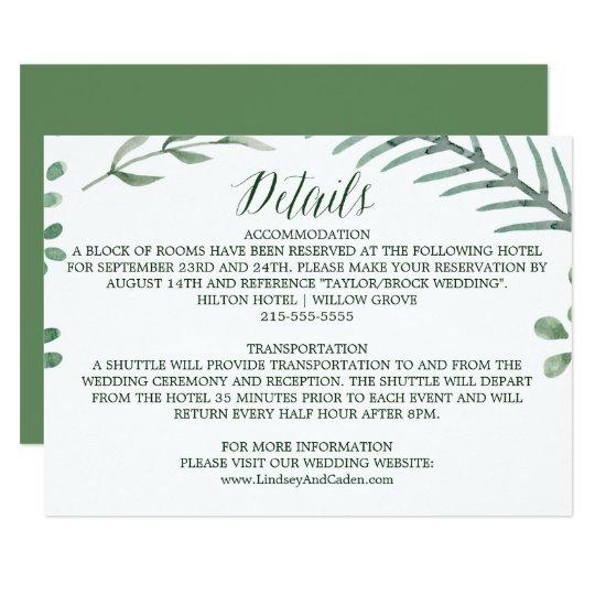 Guirlande rustique avec le feuille vert épousant carton d'invitation 8,89 cm x 12,70 cm