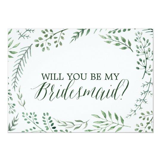 Guirlande rustique verte vous serez ma demoiselle carton d'invitation  12,7 cm x 17,78 cm