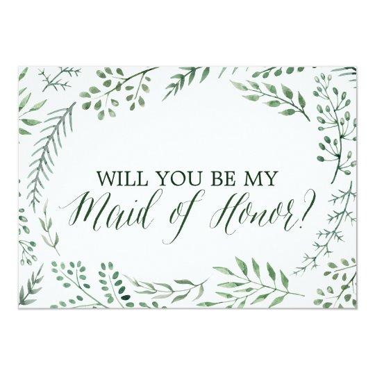 Guirlande rustique verte vous serez ma domestique carton d'invitation  12,7 cm x 17,78 cm