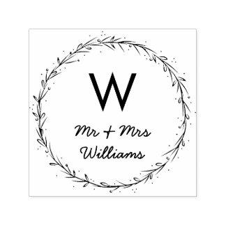 Guirlande simple - M. et Mme Monogram Tampon Auto-encreur