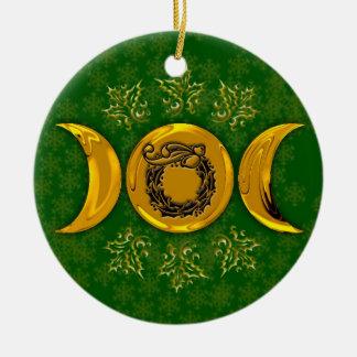 Guirlande triple #3 de lune et de houx ornement rond en céramique
