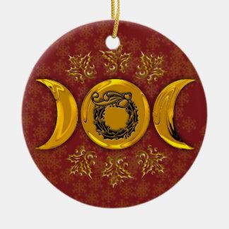 Guirlande triple #4 de lune et de houx ornement rond en céramique
