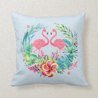 Guirlande tropicale de fleurs de flamants roses coussin