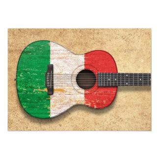 Guitare acoustique âgée et utilisée de drapeau invitation
