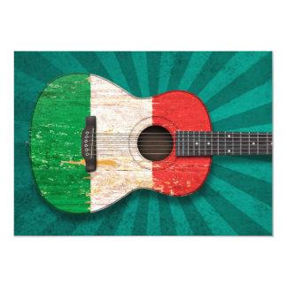 Guitare acoustique âgée et utilisée de drapeau faire-part personnalisables