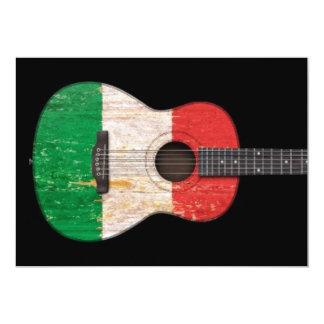 Guitare acoustique âgée et utilisée de drapeau invitations personnalisées