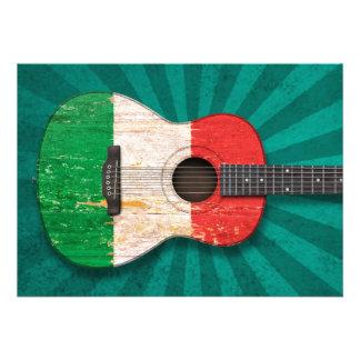 Guitare acoustique âgée et utilisée de drapeau ita faire-part personnalisables