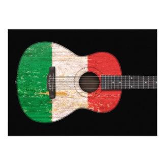 Guitare acoustique âgée et utilisée de drapeau ita invitations personnalisées