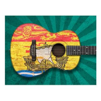 Guitare acoustique de drapeau usé du Nouveau Carte Postale