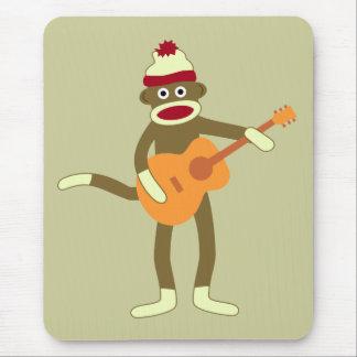 Guitare acoustique de singe de chaussette tapis de souris
