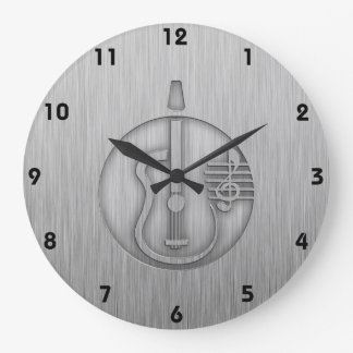 Guitare acoustique ; Métal-regard balayé Grande Horloge Ronde