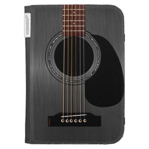 Guitare acoustique noire de cendre étuis clavier kindle