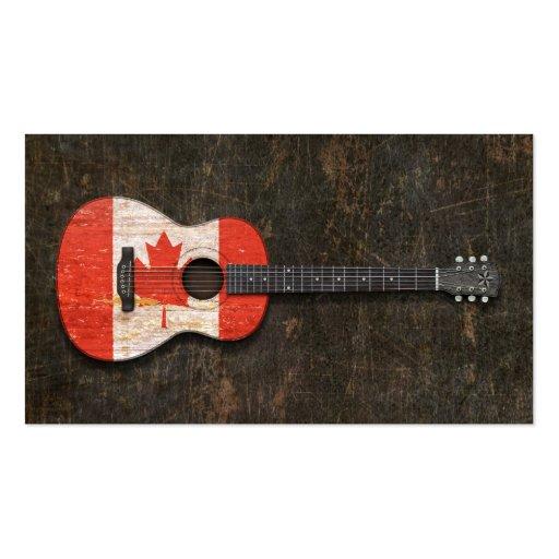 Guitare acoustique rayée et utilisée de drapeau ca modèle de carte de visite