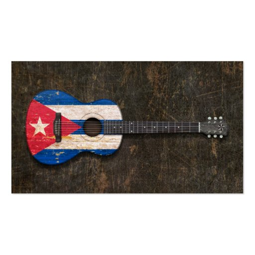 Guitare acoustique rayée et utilisée de drapeau cu modèle de carte de visite