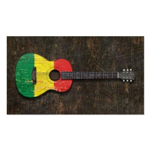 Guitare acoustique rayée et utilisée de drapeau du cartes de visite professionnelles