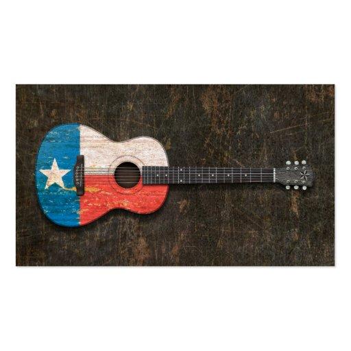 Guitare acoustique rayée et utilisée de drapeau du cartes de visite personnelles