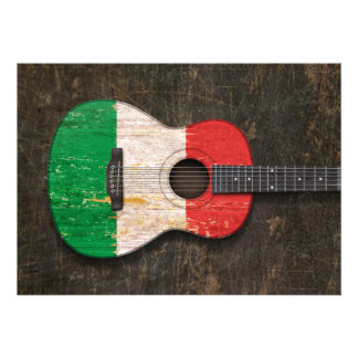 Guitare acoustique rayée et utilisée de drapeau it invitations