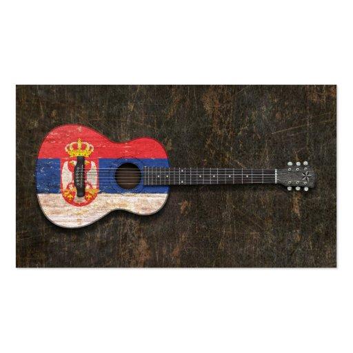 Guitare acoustique rayée et utilisée de drapeau se modèle de carte de visite