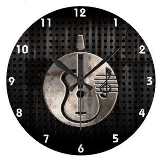 Guitare acoustique rocailleuse grande horloge ronde