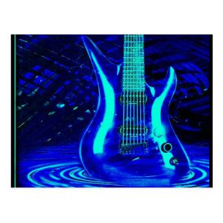 Guitare bleue au néon carte postale